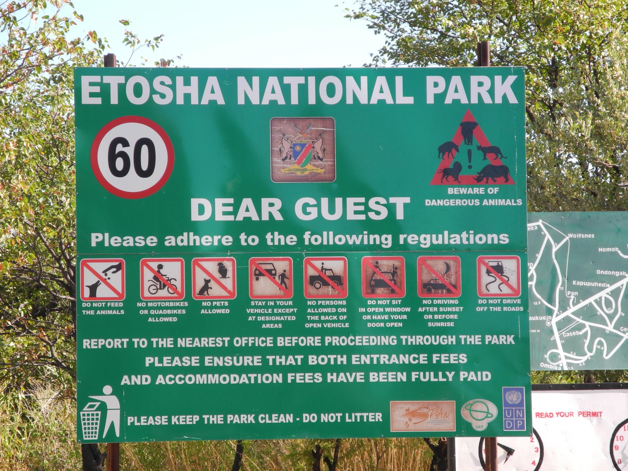 Schild - Etosha Nat. Park