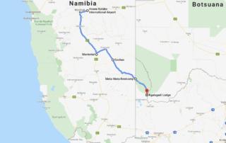 Route von Windhoek zur Kgalagadi Lodge - Namibia 2019